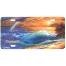 Ocean Spectrum- Ocean w/ Rainbow & Dolphin Airbrushed License Plate