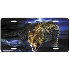 Leopard Prowl Airbrushed License Plate