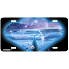 Crystal Moonlight Hearts w/ Ocean & Dolphins Airbrushed License Plate