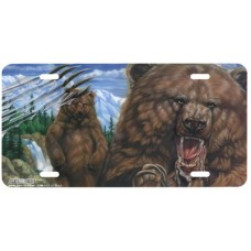 Grizzly Roar- Bear Airbrushed License Plate