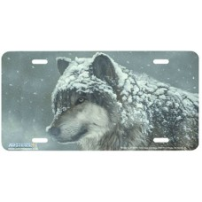 Wolf in the Snow Airbrushed License Plate