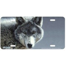 Gazing Wolf Airbrushed License Plate