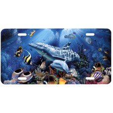 Miracle of Life- Dolphons & Fish at Tropical Reef Airbrushed License Plate