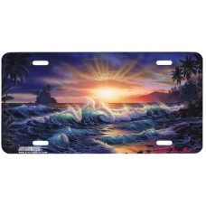 Tropical Sunrise Ocean Airbrushed License Plate