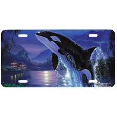 Silent Journey Killer Whale by Moon Airbrushed License Plate