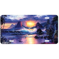 Dawn of a New Era Sunrise over Ocean w/ Mountains Airbrushed License Plate