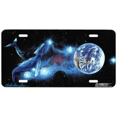 Whale Orbiting Earth in Space Airbrushed License Plate