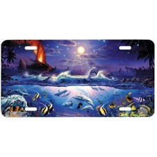 The Dawn of Pele- Sea Life by Moonlight Airbrushed License Plate