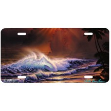 Golden Moment- Waves/Ocean Airbrushed License Plate