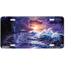 Paradise Ocean & Sunrise Airbrushed License Plate