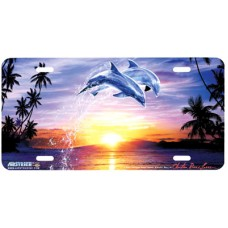 Leap of Faith II- Dolphins at Sunrise Airbrushed License Plate