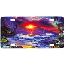 Escape- Sunrise over Ocean & Mountains Airbrushed License Plate