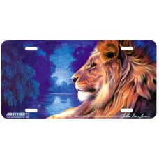 Majesty III- Lion on Blue Airbrushed License Plate