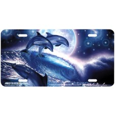 Surfing Dolphins by Moonlight Airbrushed License Plate