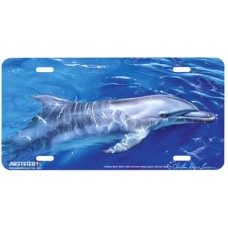 Tahitian Blue Dolphin Airbrushed License Plate