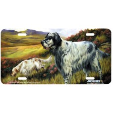 English Setter Dog Airbrushed License Plate
