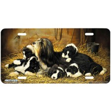 A Moments Peace- Mom Dog w/ Puppies Airbrushed License Plate