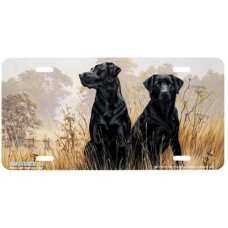 Black Watch- Black Labrador Dogs in Fields Airbrushed License Plate