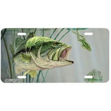 Bass and Leopard Frog Fish Airbrushed License Plate