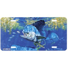Dolphin and Jacks Fish Swimming Airbrushed License Plate