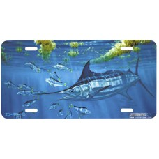 Blue Marlin and Dolphin Fish Airbrushed License Plate