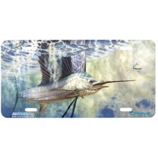 Dropping Back Swordfish Fish Airbrushed License Plate