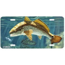 Redfish and Crab Fish Airbrushed License Plate