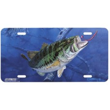 Bass and Worm Fish Airbrushed License Plate