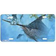 Rising Blue Swordfish Airbrushed License Plate