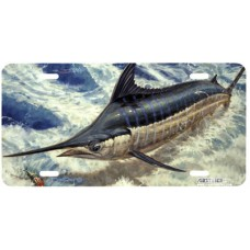 Marlin Leap Fish Airbrushed License Plate