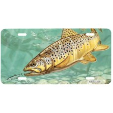 Brown Trout Fish Airbrushed License Plate