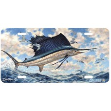 Airborne Fish Airbrushed License Plate