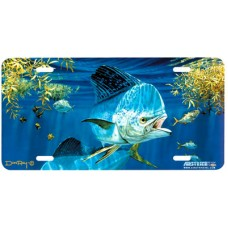 Dolphin Working the Weeds Fish Airbrushed License Plate