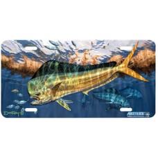 Dorado Fish Airbrushed License Plate
