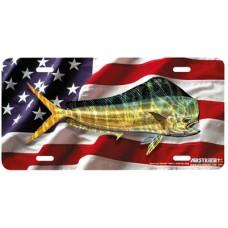 American Dorado- Fish on American Flag Patriotic Airbrushed License Plate