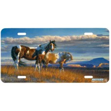 The Painted Desert Horses by the Mountains Airbrushed License Plate