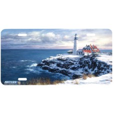 Solitude- Ocean & Lighthouse Airbrushed License Plate