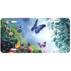 Butterflies in the Mist Airbrushed License Plate