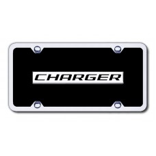 Dodge Charger Chrome on Black with Chrome Frame License Plate