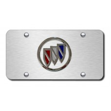 Buick Logo on Brushed Steel License Plate
