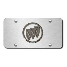 Buick Logo No Fill on Brushed Steel License Plate