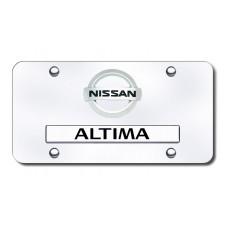 Dual Nissan Altima Logo Chrome License Plate