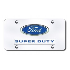Dual Ford Super Duty Chrome on Chrome License Plate