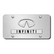 Infiniti Logo Brushed Steel on Brushed Steel License Plate