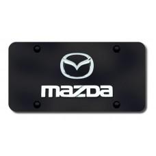 Mazda Logo Chrome on Black License Plate