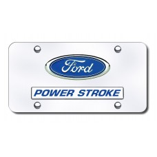 Dual Ford Power Stroke Chrome License Plate