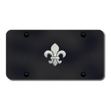 Fleur-De-Lis Chrome on Black License Plate