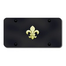 Fleur-De-Lis Gold on Black License Plate