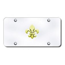 Fleur-De-Lis Gold on Chrome License Plate