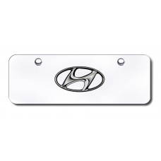 Hyundai Logo Chrome on Chrome Mini License Plate